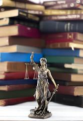 Law concept, statue and books