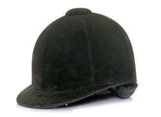 Tuinposter Paardrijden black Equestrian helmet