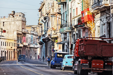 Cuba, Havana, Old Car Polluting the Air