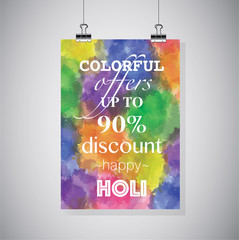 Colorfull offers. Up to 90% discount. Happy HOLI