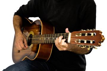 Men playin acustic guitar