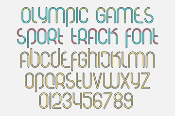 set of stylized alphabet letters and numbers isolated on white background. vector, dynamic style font type design. summer olympic games concept typesetting