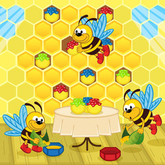 bees make honey in the hive - vector illustration, eps