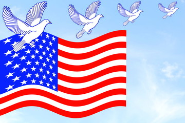 us or American flag waving in blue sky with doves