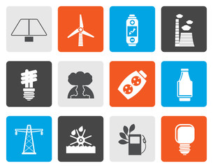 Flat Power, energy and electricity icons - vector icon set
