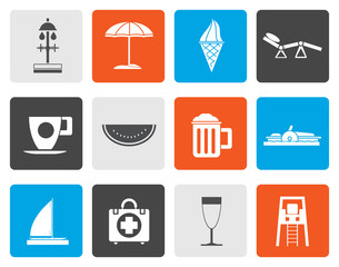 Flat beach and holiday icons - vector icon set
