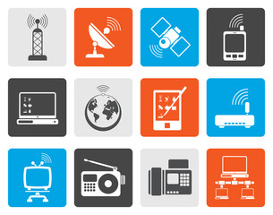 Flat communication and technology icons - vector icon set