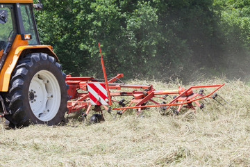 Rotary hay rake turning dried pasture grass for baling for hay to be used as winter feed for  farm livestock