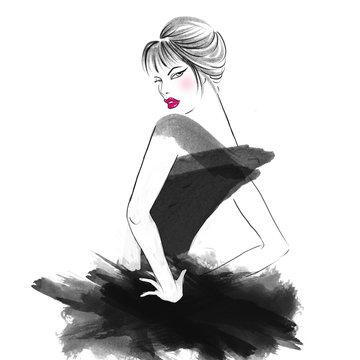 Hand Drawn Watercolor Illustration - Pretty girl posing at camera
