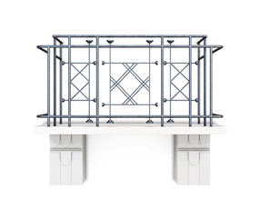 Balcony with a metal fence on a white background. 3d rendering. Decorative elements, metal rods. With the ornament. Modern. Rectangular shape. With stone footings. The outer part of the building.