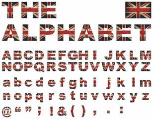 British flag font - Illustration,   Union Jack Upper Case Font,   Flag Of English Alphabet, Font with the Great Britan flag,  Vector Great Britain alphabet letters set