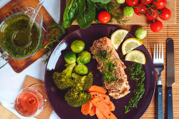 Salmon fish with vegetables