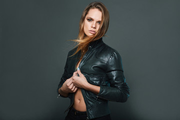 portrait of sexy model wearing leather jacket