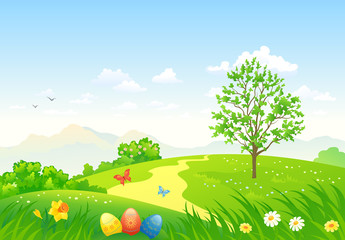 Green Easter landscape