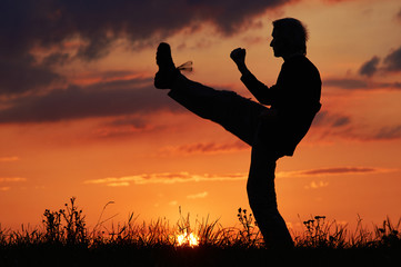 Man practicing karate on the grassy horizon after sunset. Karate front kick leg, Mae Geri. Art of self-defense. Silhouette on a background of dramatic clouds at sunset.