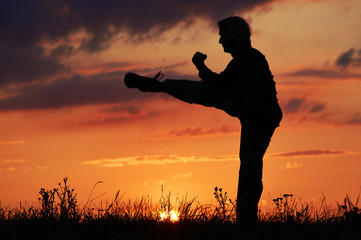 Man practicing karate on the grassy horizon after sunset. Karate kick leg. Art of self-defense. Silhouette on a background of dramatic clouds at sunset.