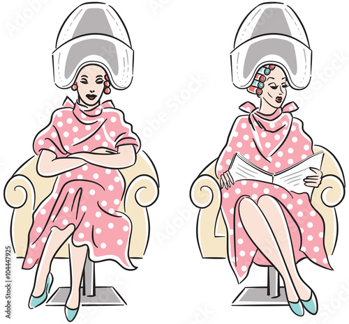 Retro Line Art Drawing Of Two Women With Hair Rollers Sitting Under