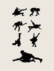 Wrestlers fighting Silhouettes, art vector design