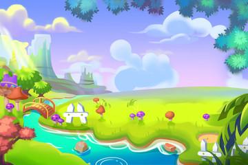 Creative Illustration and Innovative Art: Cute Cartoon Forest Land. Realistic Fantastic Cartoon Style Artwork Scene, Wallpaper, Story Background, Card Design