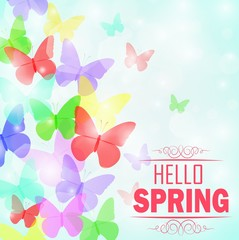 Colorful butterflies Background with text Hello Spring