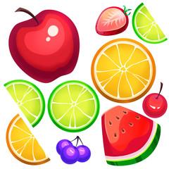 Creative Illustration and Innovative Art: Assorted Fresh Fruit Slices. Realistic Fantastic Cartoon Style Artwork Scene, Wallpaper, Story Background, Card Design