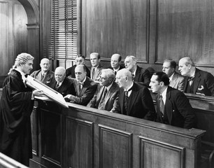 Lawyer showing evidence to the jury