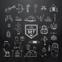 Hand drawn camping, hiking or mountain climbing icons set on black background