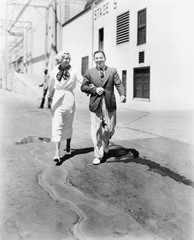 Couple walking together and laughing
