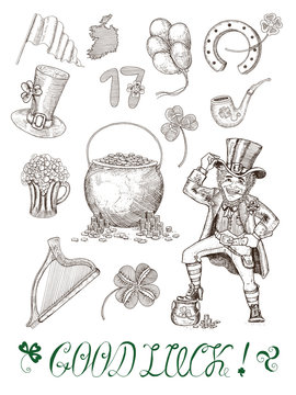 Hand drawn vector set with patricks day symbols