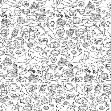 Sea seamless doodle pattern
