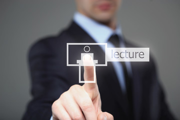 technology, internet and networking concept - businessman pressing lecture button on virtual screens