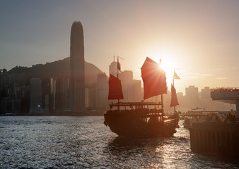 Traditional Chinese wooden sailing ship, Victoria harbor