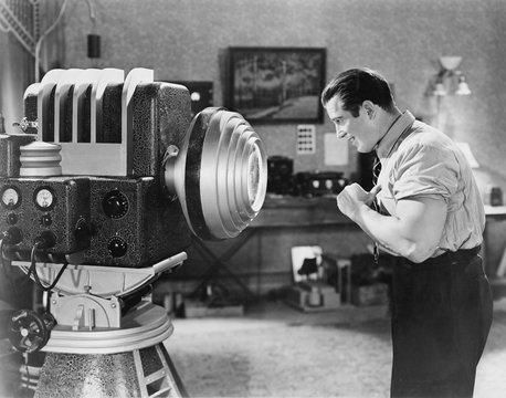 Man posing for sc fi camera