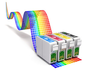 Printing concept with CMYK set of cartridges for ink jet printer