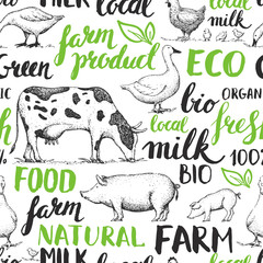 Seamless vector pattern with farm animals