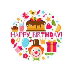 Happy Birthday set, vector illustration