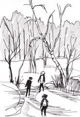 instant sketch, winter