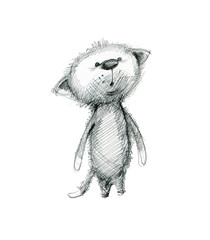 Cute surprised kitten. Hand drawing sketch on white background.