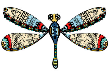 ornate zentangle dragonfly