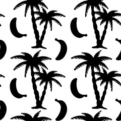 Seamless pattern with palm trees and bananas