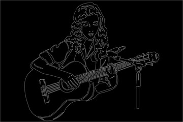 vector sketch of a girl playing the guitar in front of a microph