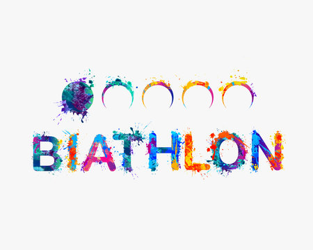 "Word ""BIATHLON"". Rainbow splash paint"