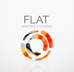 Logo - abstract minimalistic linear flat design. Business hi-tech geometric symbol, multicolored segments lines