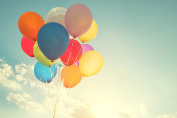 multicolor balloons with a retro instagram filter effect, concept of ...