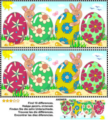 Easter themed visual puzzle: Find the ten differences between the two pictures with painted eggs and bunnies. Answer included.