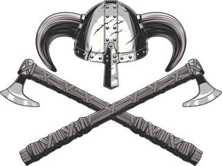 Viking helmet and ax
