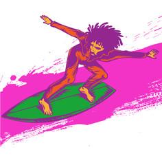 surfer pop art on wave illustration
