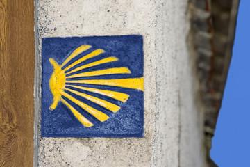 shell  sign mark  for pilgrims in Way of St James,  Camino de  Santiago, Compostela, Galicia