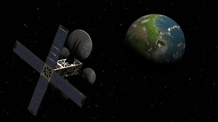 satelit observes a planet in space