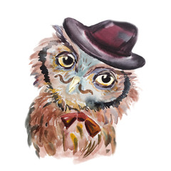 Cute owl hipster in a hat. Funny bird